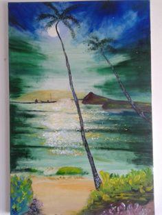 Tropical night,oil,canvas, by Sofia Gasviani .Тропическся ночь, холст масло,