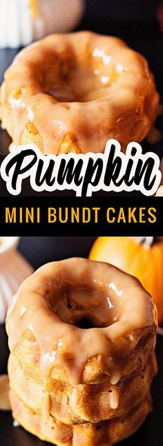 These Pumpkin bundt cakes are so moist, perfectly spiced and topped with a homemade apple cider sauce. They bake beautifully! Pumpkin Bundt Cake, Pumpkin Dessert, Bundt Cakes, Mini Bundt Cake, Mini Pumpkin Pies, Mini Pumpkins, Pound Cake, Pumpkin Recipes, Fall Recipes