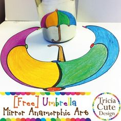 Free simple mirror art for kids to COLOR and DOODLE the deformed image and reveal the image in a cylindrical mirror or a wine bottle.