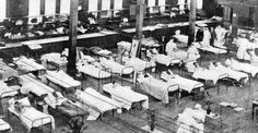 Hospital Beds in the Great Hall of the Exhibition Building, Carlton, during the great influenza pandemic of 1918-19