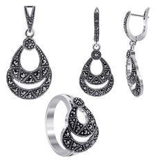 925 Silver Pear Shape Marcasite Earrings Pendant and Rings Jewelry Set