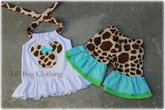 Custom Boutique Clothing Minnie Mouse Girl Giraffe Teal Lime  And Cocoa Halter Top And Shorts on Etsy, $39.99