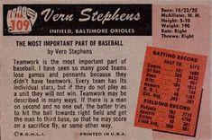 1955 Bowman #109 Vern Stephens Back