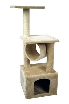 Cats Toys Ideas - Hiding Cat Tree 36 Kitty Tree Scratcher Play House Condo Furniture Toy Bed Post House (Beige) You can find more details by visiting the image link. - Ideal toys for small cats Cat Tree Condo, Cat Condo, Bed With Posts, Furniture Scratches, Cat Activity, Condo Furniture, Ideal Toys, Cat Scratching Post, Cat Accessories