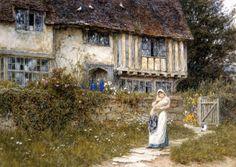 Beside The Old Church Gate Farm, Smarden, Kent - Helen Allingham Prints - Easyart.com