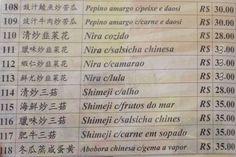 Chi Fu, Liberdade - Cardápio