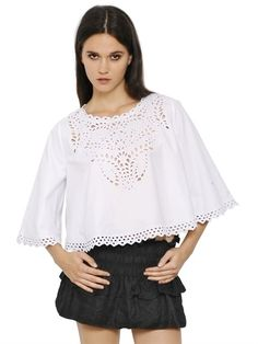 EMBROIDERED COTTON CROPPED TOP