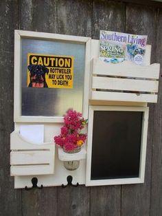 Message Center--Magnetic Board--Chalkboard--Kitchen Decor--Mail Organizer--Magazine Holder