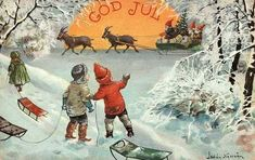 One side of my family hails from Finland, and it is fun to note that Scandinavian Christmas traditions still carry a Yule Buck from ages past. The Yule Buck Swedish Christmas, Old Christmas, Scandinavian Christmas, Vintage Christmas Cards, Christmas Photos, Xmas, Gif Noel, Yule Goat, Christmas Paintings
