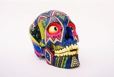 Franklin by London illustrator Hattie Stewart Graphic Design Inspiration, Tattoo Inspiration, Style Inspiration, Rob Sheridan, Skeleton Love, Ethno Design, Mexican Colors, Skull Painting, Skull Decor