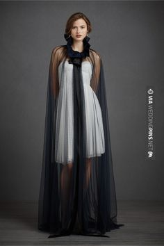 Cloaks and Capes for Formal Occasion Black White Wedding Dress, Vintage Inspired Wedding Dresses, Formal Wedding, Capes, Silk Ties, Tulle, Glamour, Ebay, Bhldn