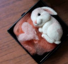 Beautiful Needle felting wool cute animals bunny (Via @sinitsa_masteritsa )