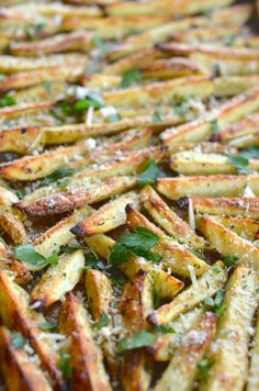 Healthy baked garlic parmesan fries! SO crispy and they taste fried!