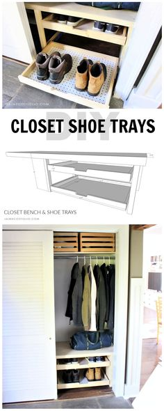 A DIY tutorial to build closet shoe trays. How to add pull out shoe trays to your closet including step by step details and free plans. Woodworking Ideas For Girlfriend, Best Woodworking Tools, Woodworking Organization, Woodworking Projects For Kids, Woodworking Furniture, Custom Woodworking, Grizzly Woodworking, Woodworking Patterns, Woodworking Crafts