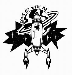 STANLEY DUKE tattoo illustration black tatt blackwork blackworkers blackworker linework bold graphic design art artist cartoon frank sinatra rocket space ship spaceship stars star