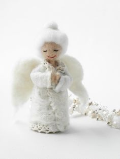 Christmas angel granny miniature doll with red heart Christmas gift home decor gift for granny white angel gift for granny wool toy wool angel needlefelted angel home decoration christmas home decor christmas gift christmas angel holiday decor 40.00 USD #goriani