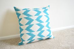 Teal Lattice/Geometric/Scandinavian Design Cotton Linen Cushion Cover 18 x 18""