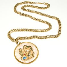 Vintage Runway Couture Signed Krementz Asian Jumping Koi Fish Necklace with Foil Back Opal Semi Precious Stones Set on Agate Gold Plated