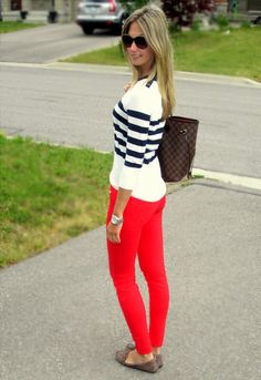 red jeans and striped top