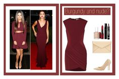 """""""Burgundy and nude?"""" by abirjebari ❤ liked on Polyvore featuring Elizabeth and James, Jimmy Choo, MAC Cosmetics, Rebecca Minkoff, Essie and Chanel"""