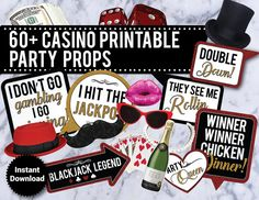 60+ Casino Theme Adult Funny Props, Vegas Party, Poker, Adult props, Printable Party Photo Booth Props, photo booth signs, speech bubbles