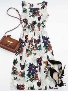 High Waisted Leaf Print Maxi Dress - Floral M