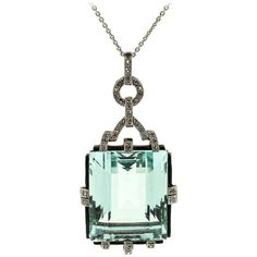 Pre-owned 1940s Aquamarine Diamond Platinum Pendant ($11,750) ❤ liked on Polyvore featuring jewelry, pendants, more necklaces, necklaces, pre owned jewelry, platinum pendant, aquamarine jewelry, long pendant and art deco diamond pendant
