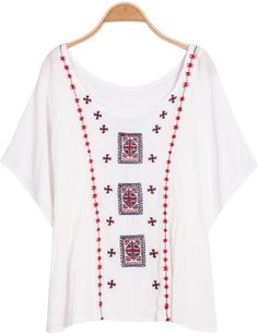 Shop White Short Sleeve Embroidered Loose Blouse online. Sheinside offers White Short Sleeve Embroidered Loose Blouse & more to fit your fashionable needs. Free Shipping Worldwide!