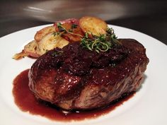 Pan Seared Filet Mignon with Red Wine Shallot Reduction. Haven't tried this, but my mouth is watering! Yum.