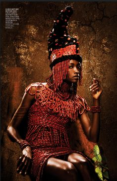 Oluchi Onweagba-Orlandi as a young Queen Mother Idia of Benin (16th century). || Part of 'BLAST FROM THE PAST' spread, of STYLE MANIA magazine. || Photo: Kelechi Amadi-Obi, Stylist Onidiri & Zubi. Model: Oluchi Orlandi