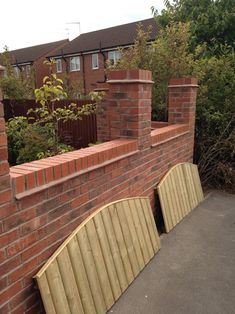 Wall with panels Brick Columns, Red Brick Walls, Brick Fence, Front Fence, Fence Design, Garden Design, Outdoor Paving, Driveway Paving, Boundary Walls