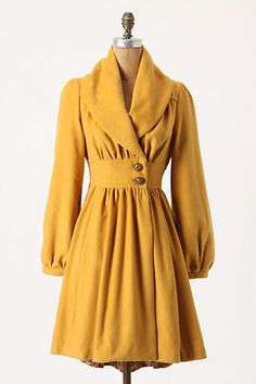 I already have a yellow coat, but this one is super cute too! Ruched Marigold Coat by Anthropologie Looks Style, Style Me, Yellow Coat, Yellow Dress, Look Retro, Retro Mode, Looks Vintage, Vintage Style, Vintage Coat