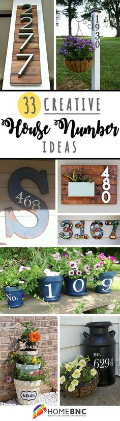 Creative House Number Decorations. some unique ideas to make any house stand out.