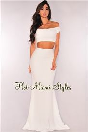 White Off-The-Shoulder Maxi Two Piece Set