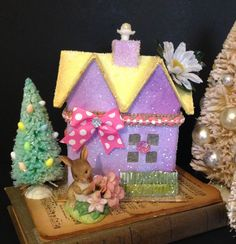 Easter Putz House with Grass  Bottlebrush Tree and Homco Bunny Figurine Easter Glitter House Handmade with German Glass Glitter (45.00 USD) by ThePokeyPoodle