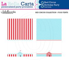 Red Circus Printable Food Tents, Circus Party, Printable Party, DIY Party, Circus Printable, party decor, baby shower