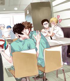 Haikyuu!! Tooru Oikawa x Hajime Iwaizumi & Kuroko no basket Kise x Kasamatsu