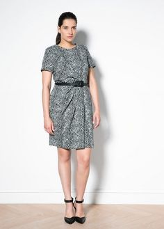 Violeta Plus Size Belt Printed Dress
