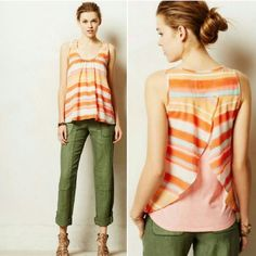 """Anthropologie Merlon Tank Size XS. Excellent condition. Meadow Rue's boho ruffled tank pairs perfectly with cutoffs and a daytrip to the park. By Meadow Rue Pullover styling Cotton, polyester Machine wash Regular: 25.5""""L Anthropologie Tops Tank Tops"""