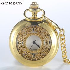 >> Click to Buy << New Hollow Golden Men Women Pocket Watches Classic Style Roman Number Unisex Quartz Watch Fob Chain Necklace Relogio De Bolso #Affiliate