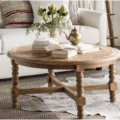 Mistana Haylie Wooden Coffee Table - Home Decor - Wood Coffee Table Coffee Table Joss And Main, Round Wood Coffee Table, Garden Coffee Table, Coffee Table With Storage, Coffee Table Sets, Shabby Chic Coffee Table, Rustic Coffee Tables, Home Design, Floor Shelf
