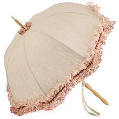 Genevieve - UVP Beige Parasol with Embroidered Lace Trim by Pierre Vaux - Brolliesgalore