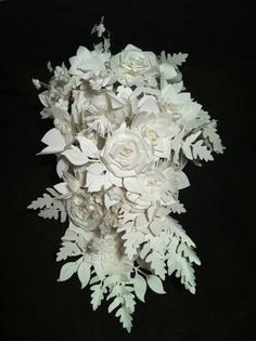 Amazing Paper bridal bouquet by Bohemian Bloom. How To Make Paper Flowers, Large Paper Flowers, Paper Flower Wall, Faux Flowers, Diy Flowers, Flower Ideas, Origami Bouquet, Paper Bouquet, Paper Wedding Decorations