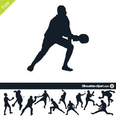 Ping pong players vector silhouettes