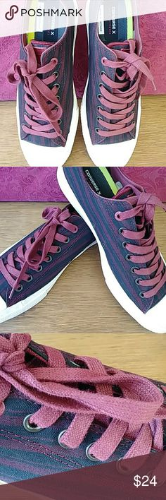 Converse All Star Sneakers Striped Maroon and black converse all-star sneakers with maroon shoelaces. In great shape. Slightly worn. Clean on the inside. Converse Shoes Athletic Shoes