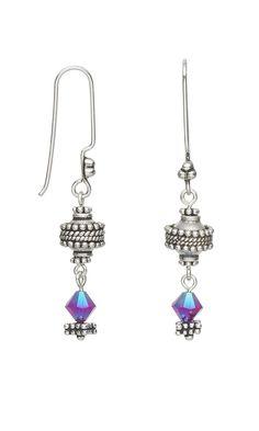 Silver and Crystal Drop Earrings  #jewelrymaking #diyearrings #diyjewelry #jewelrydesign #beading