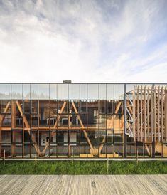 New Wood Architecture Model Design Ideas Architecture Design, Timber Architecture, Facade Design, Computer Architecture, Tectonic Architecture, Auditorium Architecture, Wooden Facade, Timber Structure, Glass Facades