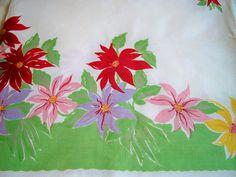 Vintage Wilendur Christmas Poinsettia Tablecloth Book Piece by BlackRain4, $64.99