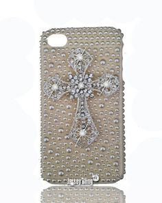 Amazon.com  BLING Cross Case in Luxury Faux Pearls   Iridescent Crystals  for Iphone 4 4s Case by Jersey Bling  Cell Phones   Accessories dfa466c55277