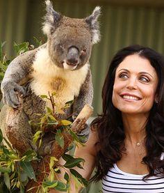 In #Sydney, #Australia, #realityTV star #BethennyFrankel poses with adorable #koala Blinky Bill during her trip to WILD LIFE Sydney. Lookin' good, guys! #pawnation #celebrity #pawparazzi #animals #koalas